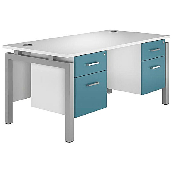 NEXT DAY Kaleidoscope Rectangular Double Bench Desks With Fixed Pedestal