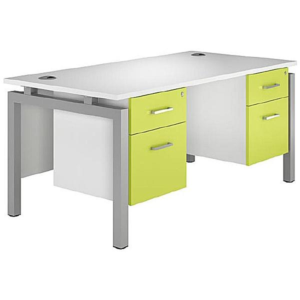 NEXT DAY Kaleidoscope Rectangular Double Bench Desks With Fixed Pedestal