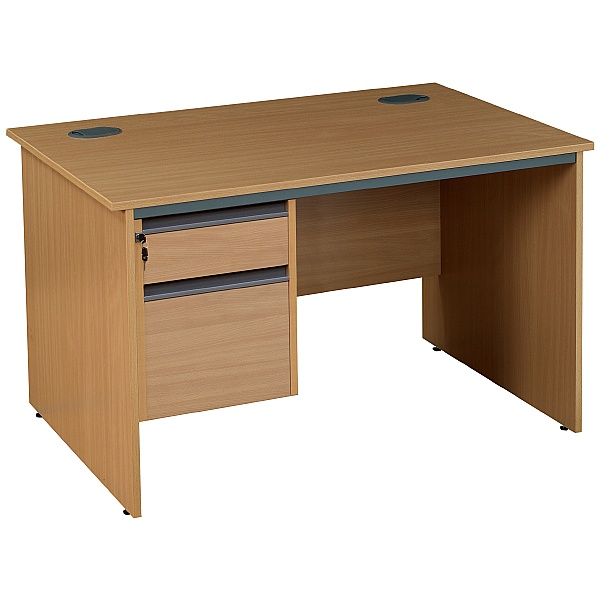 NEXT DAY Nova Plus Rectangular Panel End Desk With Single Fixed Pedestal