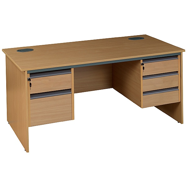 NEXT DAY Nova Plus Rectangular Panel End Desk With Double Fixed Pedestals