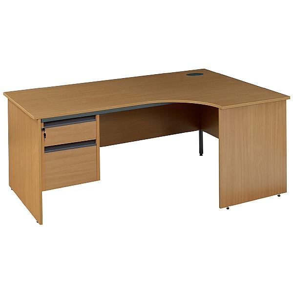 NEXT DAY Nova Plus Ergonomic Panel End Desk With Fixed Pedestal