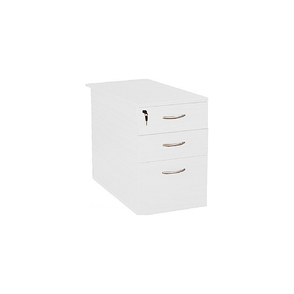 Next Day Vogue White Desk High Pedestals