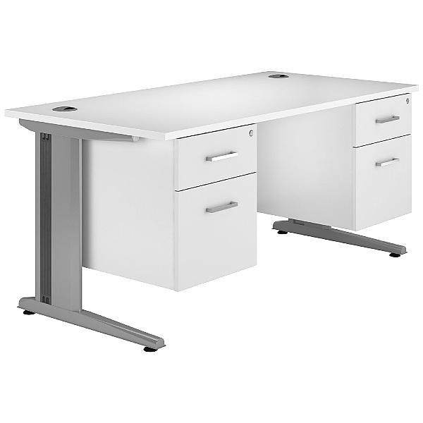 Next Day Polar Cantilever Rectangular Systems Desk With 2 Fixed Pedestals