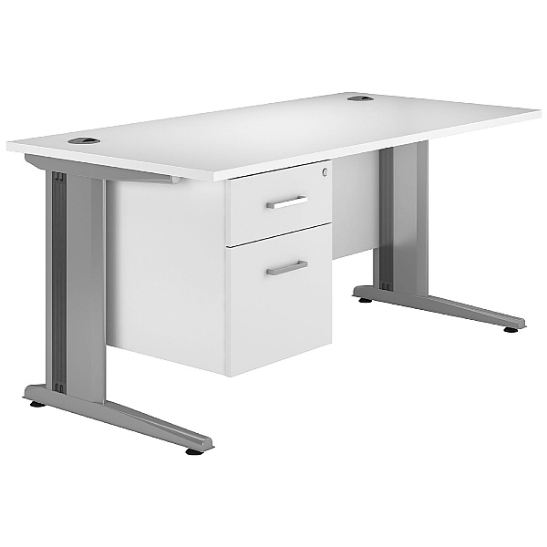 Next Day Polar Cantilever Rectangular Systems Desk With Fixed Pedestal