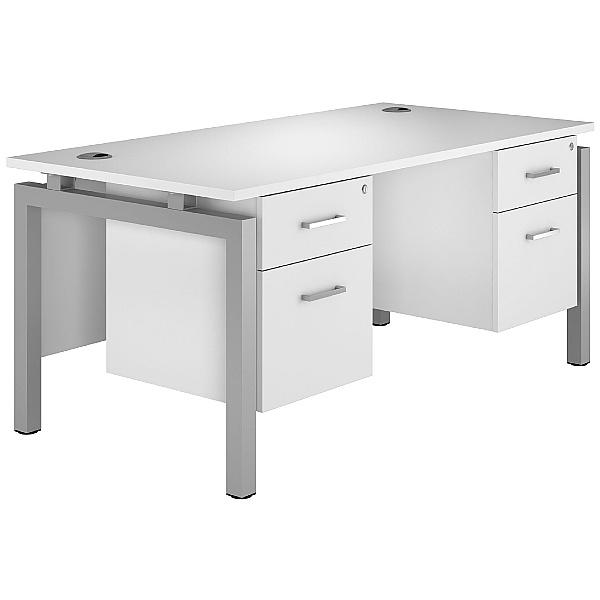 Next Day Polar Rectangular Bench Desks With Double Fixed Pedestals