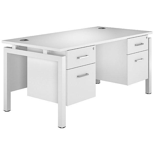 Next Day Polar Rectangular Bench Desks With Double Fixed Pedestals