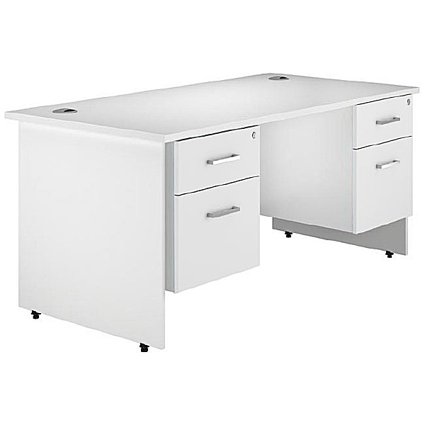 Next Day Polar Panel End Double Fixed Pedestal Desks