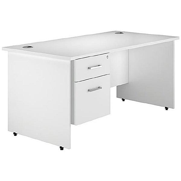 Next Day Polar Panel End Single Fixed Pedestal Desks