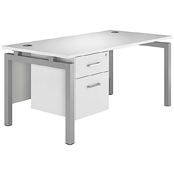 Next Day Polar Rectangular Bench Desks With Fixed Pedestal
