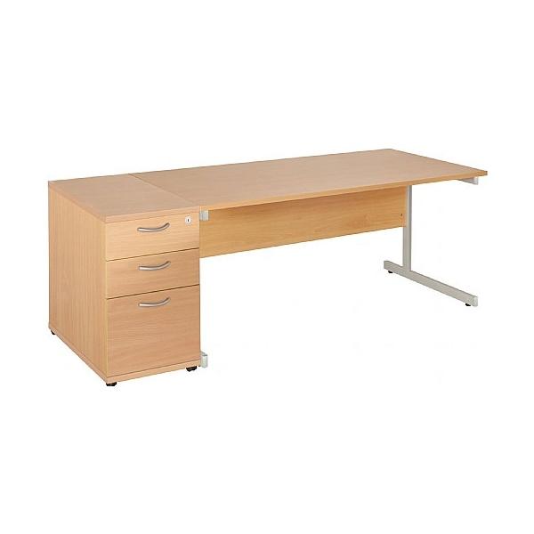 Commerce II Rectangular Desks With Desk High Pedestal