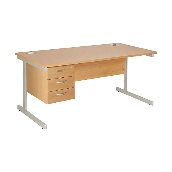 Commerce II Rectangular Desks With Single Fixed Pedestal