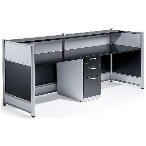 Black Lumina Gloss Reception Desk