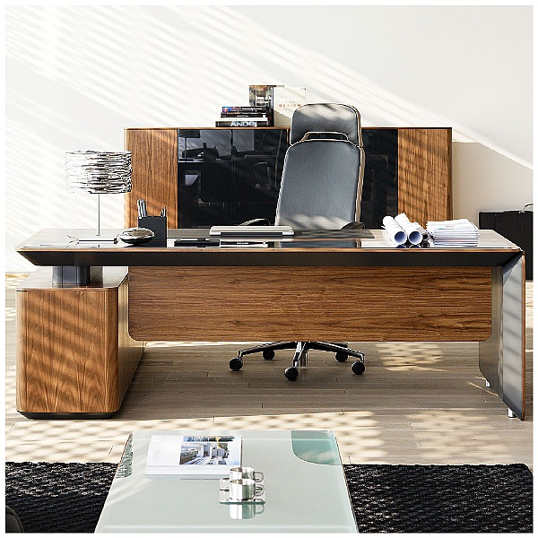 BN eRange Bow Fronted Managerial Desks With 1600mm Right Side Board