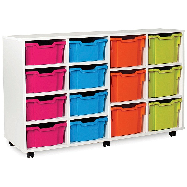 8 Deep and 6 Extra Deep Tray White Range Storage Unit