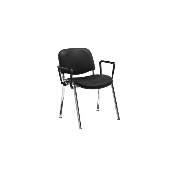 Swift Vinyl Conference Chair with Chrome Frame with Arms (Pack of 4 Chairs)