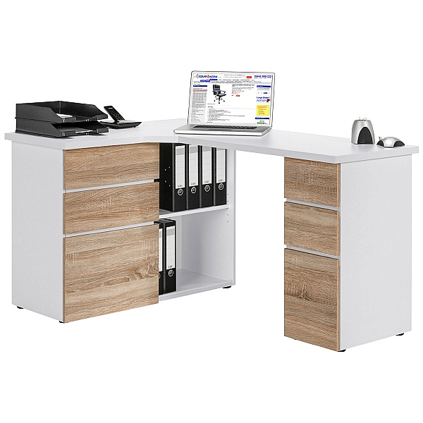 Radcliff Corner Computer Desk Oak/White