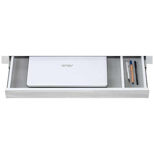 Silica Glass Computer Desk White