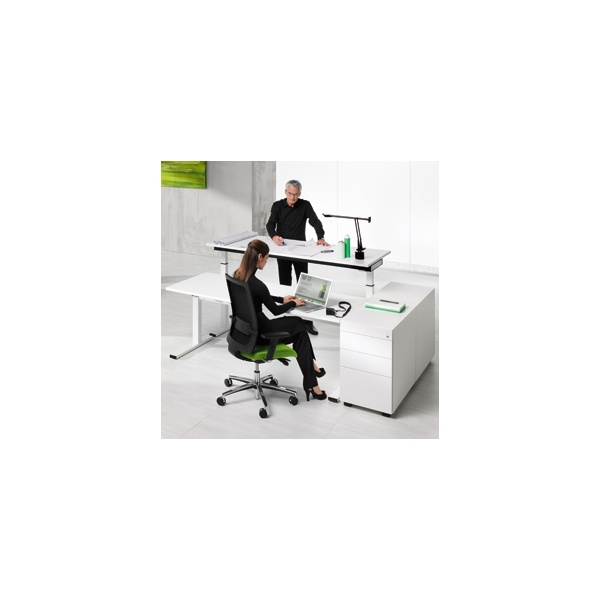 BN SQart Workstation C Leg Sloped Desks With Electrical Height Adjustment