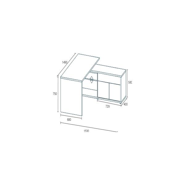 Naples Corner Computer Desk Beech/White Gloss