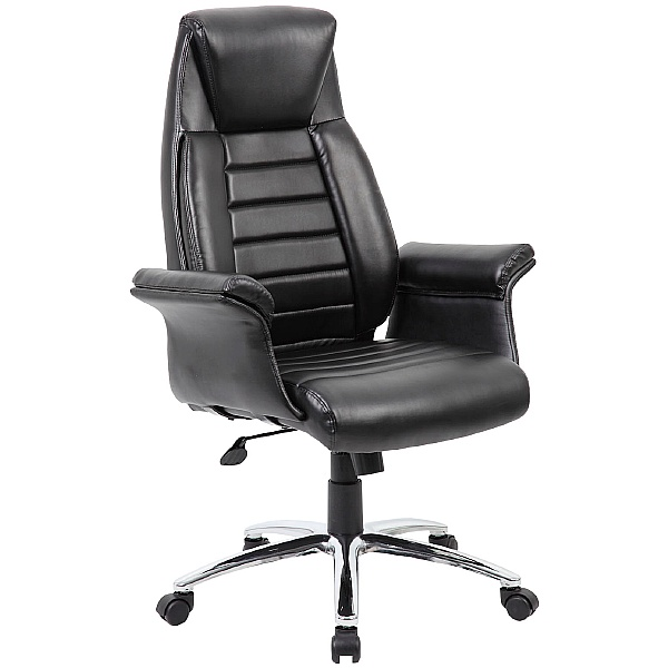 Jersey High Back Executive Leather Faced Armchair
