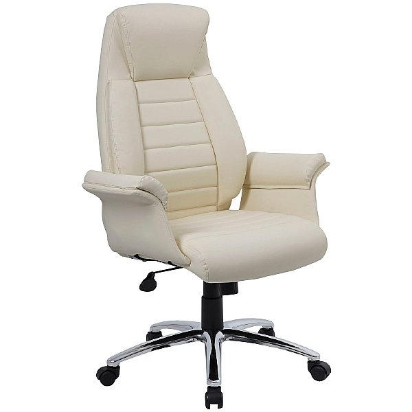Jersey Cream High Back Executive Leather Faced Armchair