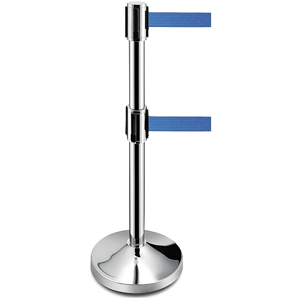 Double Retractable Blue Belt Barrier