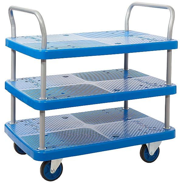 Proplaz Blue 3 Shelf Trolley