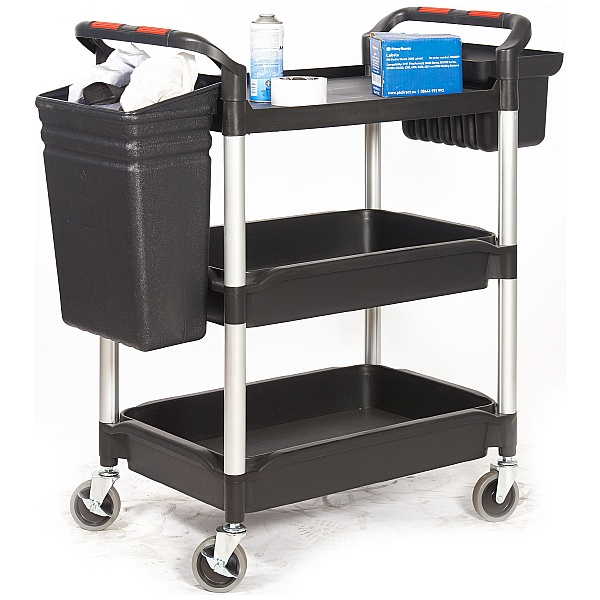 Deep 3 Shelf Tub Trolley With Plastic Buckets
