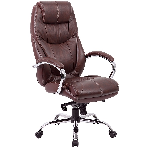 Genoa Leather Executive Office Chair Brown