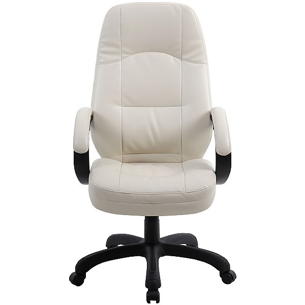 Monza Cream Leather Look Manager Chair