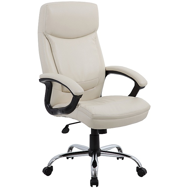 Modena Cream High Back Leather Manager Chairs