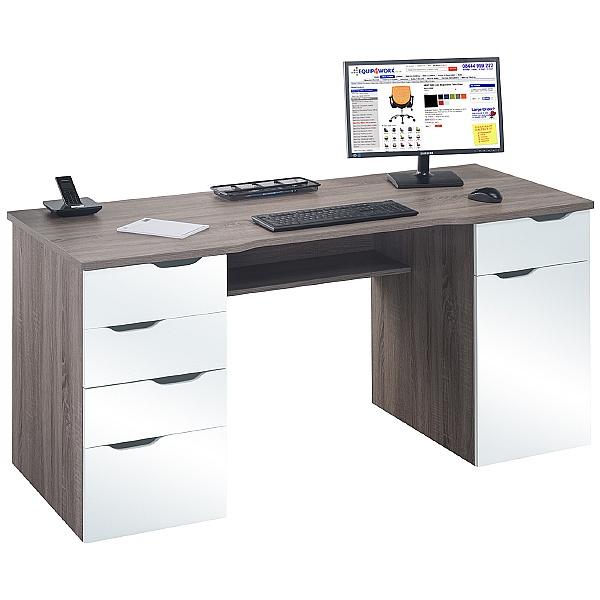Calgary Computer Desk Truffle Oak/White Gloss
