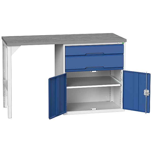 Bott Verso Pedestal Benches - 800mm Pedestal With Cupboard & 2 Drawers