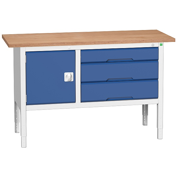 Bott Verso Storage Benches - 1500mm With Cupboard & 3 Drawers