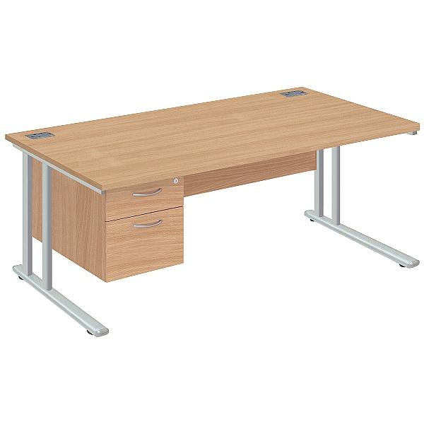 NEXT DAY Commerce II Deluxe Rectangular Desks With Single Fixed Pedestal