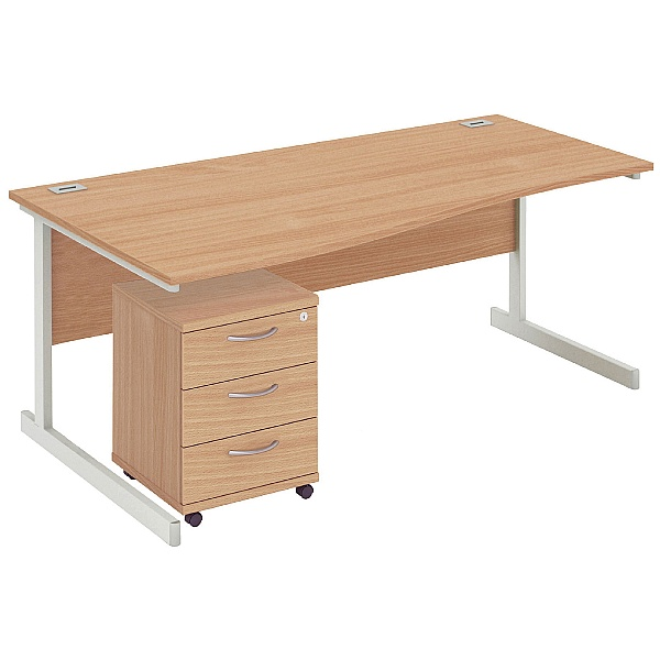 NEXT DAY Commerce II Wave Desks + Mobile Pedestals