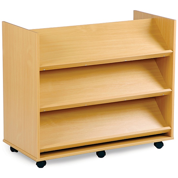 Library Unit With 3 Angled Shelves On Each Side