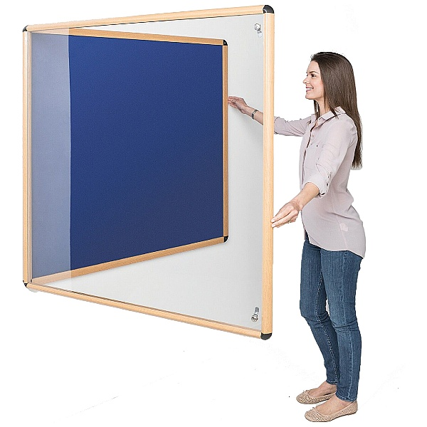 Shield Design Wood Effect Tamperproof Noticeboards
