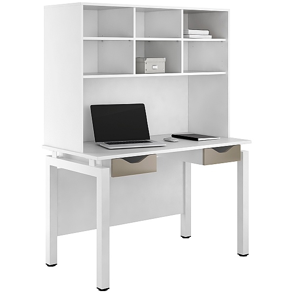 NEXT DAY Engage Reflections Double Drawer Desks With Open Storage