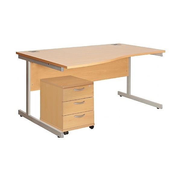 Commerce II Wave Desks With Mobile Pedestal