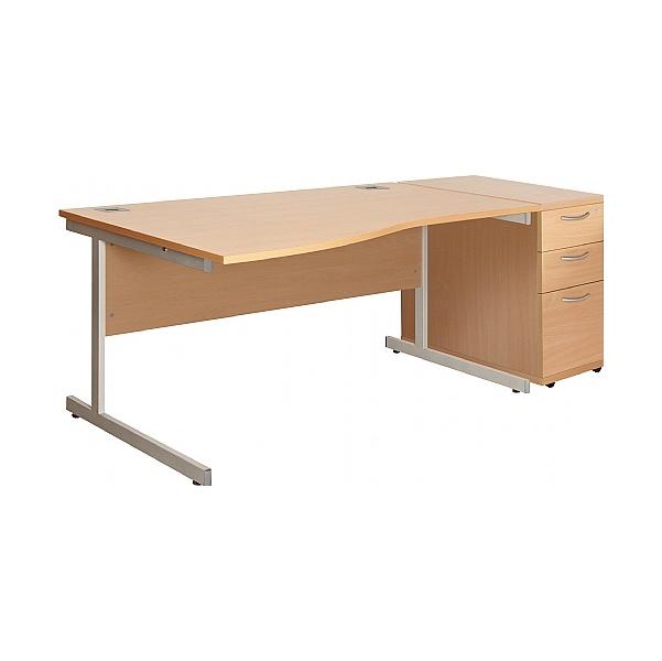NEXT DAY Commerce II Wave Desks + Desk High Pedestal