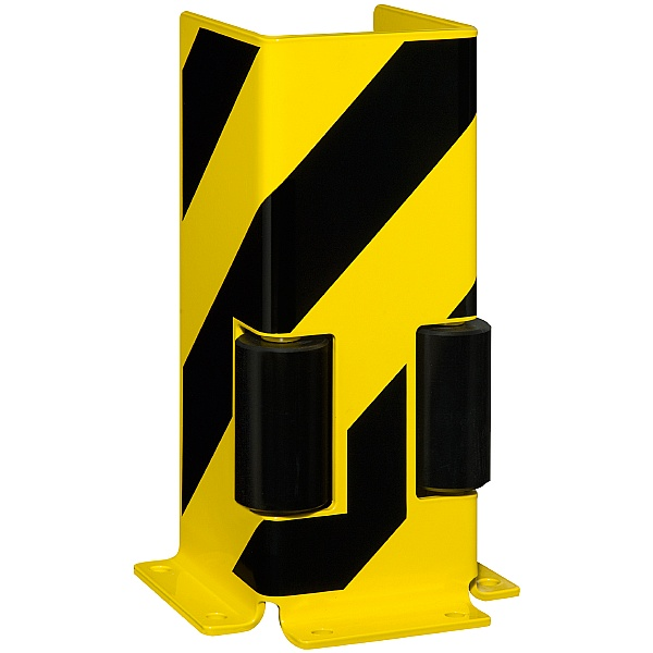 Black Bull Steel Pallet Racking Protectors With Guide Rollers - U Profile