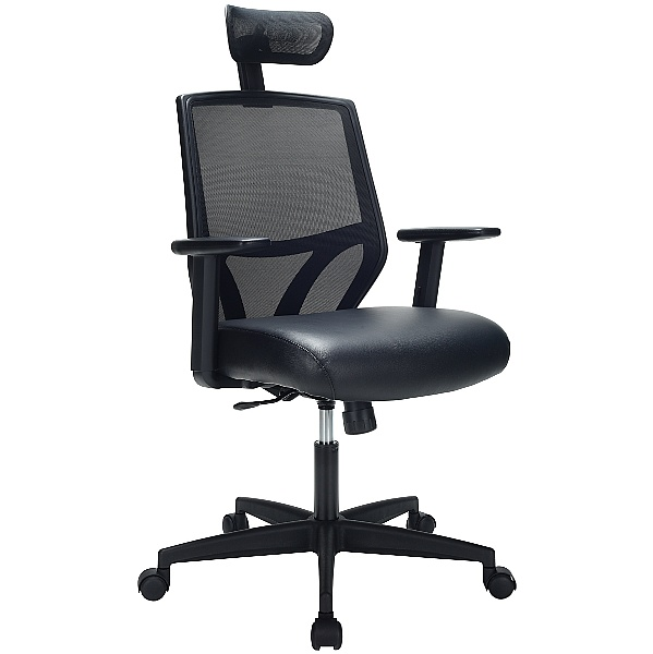 Impact Mesh Office Chair with Pocket Sprung Leather Seat