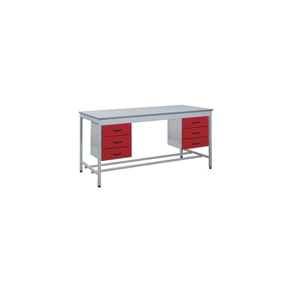 Taurus Utility Workbench With Double Three Drawer Pedestals
