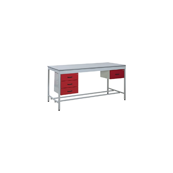 Taurus Utility Workbench With Single Drawer And Three Drawer Pedestals