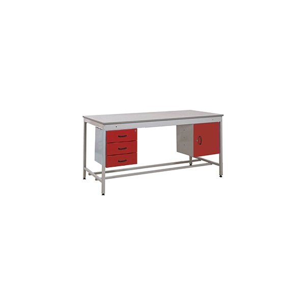 Taurus Utility Workbench With Fixed Cupboard And Three Drawer Pedestal