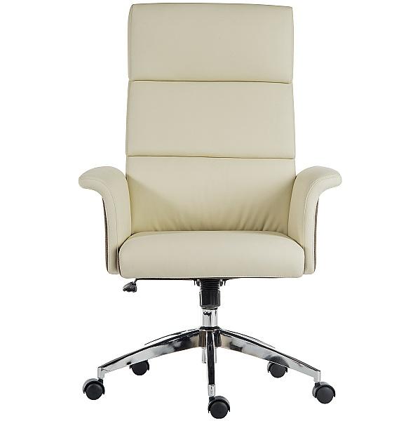 Elegance High Back Leather Look Executive Chair Cream