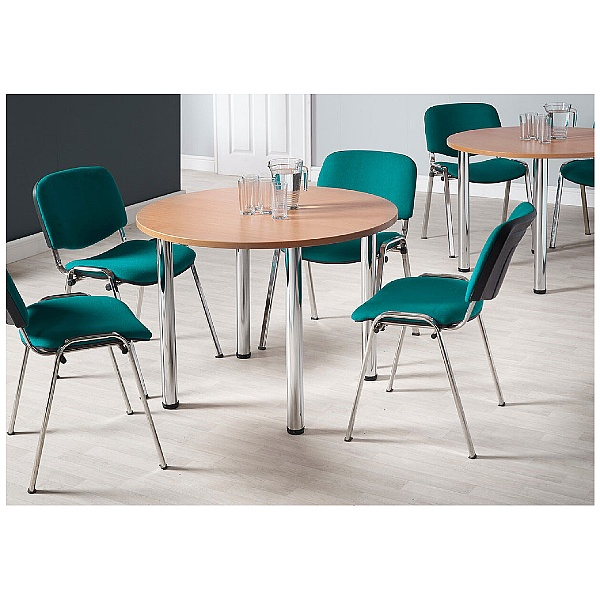 NEXT DAY Unite II Round Chrome Tubular Leg Tables