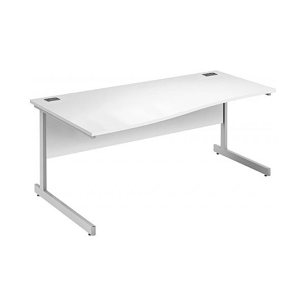 Commerce II White Wave Office Desks