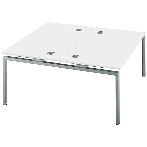Commerce II Double Starter White Bench Desks